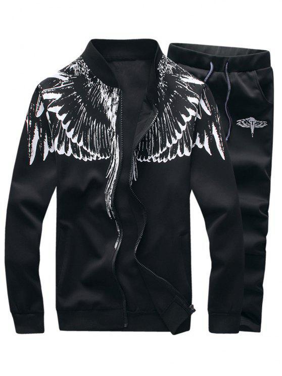 بدلة الملابس طباعة الأجنحة ووقوف الرقبة وبسحاب - أسود L