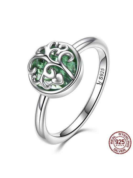 trendy Tree of Life Heart Sterling Silver Ring - SILVER 6