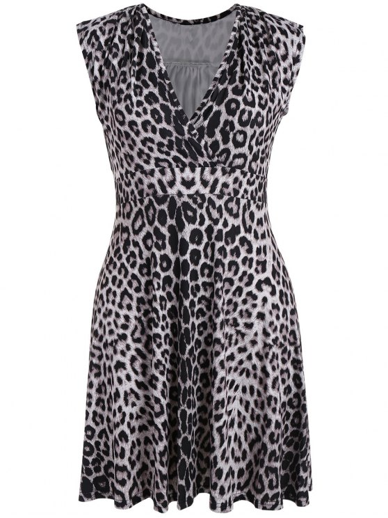 fashion Plus Size Leopard Print Surplice Dress - BLACK LEOPARD PRINT 3XL