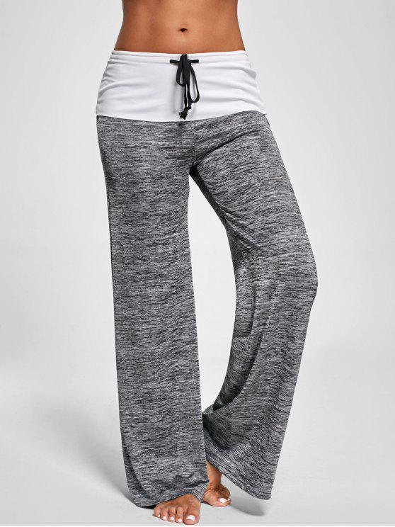 unique Foldover Heather Wide Leg Pants - GRAY M