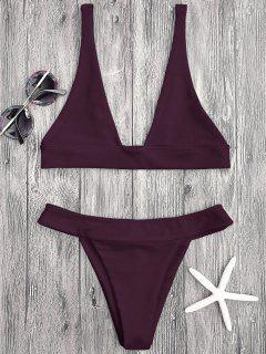 Plunge Bikini Top Und Hohe Schlitz Badehose - Merlot S