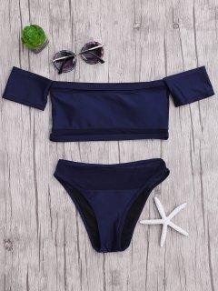 Mesh Schulterfrei Bikini Set Mit Hohem Ausschnitt - Blau S