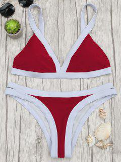 Two Tone Padded Swimsuit - Red L