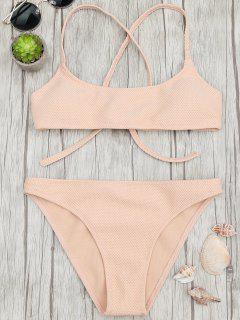 Textured Scoop Bralette Bikini Set - Apricot L