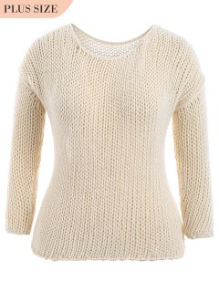 Plus Size Sheer Chunky Sweater - Off-white 3xl