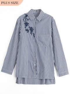 Plus Size Embroidered Stripes Shirt - Black Xl