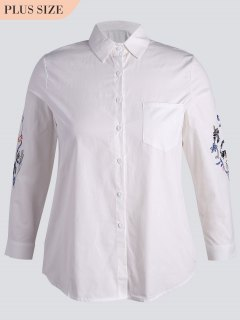 Button Down Embroidered Sleeve Plus Size Shirt - White 5xl