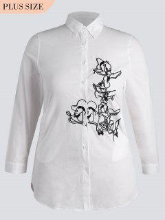Button Down Embroidered Plus Size Shirt - White 5xl