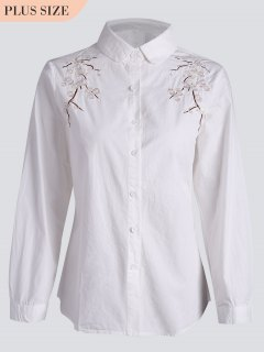 Plus Size Floral Embroidered Shirt - White 5xl