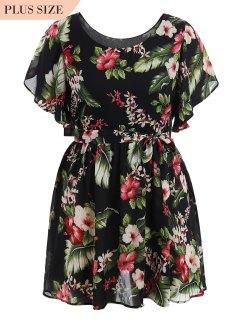 Plus Size Belted Floral Mini Dress - Floral Xl