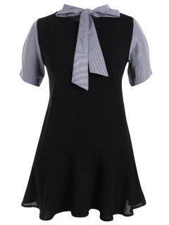 Plus Size Bowtie Neck Striped Dress - Black 4xl