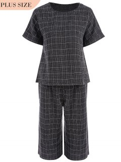 Plus Size Checked Top And Capri Straight Pant Suit - Black 3xl