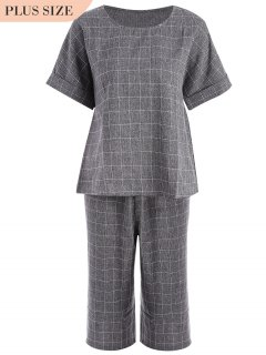 Plus Size Checked Top And Capri Straight Pant Suit - Gray 2xl