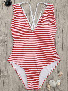 Cross Back Striped One Piece Swimsuit - Red Stripes Xl