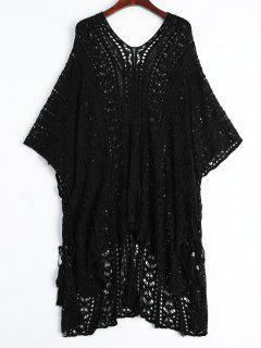 Vestido De Vestir De Poncho Abierto Playa De Punto - Negro