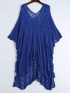 Open Knit Beach Poncho Cover Up Dress - Blue
