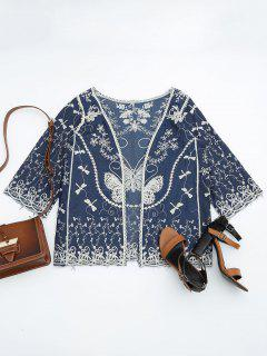 Open Front Embroidered Beach Cover Up - Blue