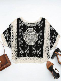 Crochet Panel Poncho Beach Cover Up - Black