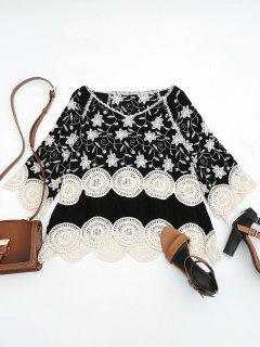 Crocheted Embroidered Beach Cover Up Top - Black