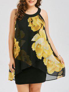 Plus Size Floral Print Overlay Sheath Dress - Yellow Xl