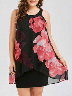 Plus Size Floral Print Overlay Sheath Dress - Red 3xl
