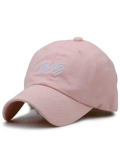 Adjustable Letters Embroidery Baseball Cap - Light Pink