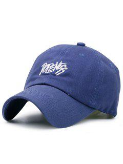 Adjustable Letters Embroidery Baseball Cap - Purplish Blue