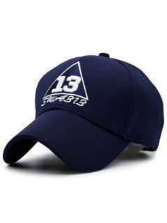 Trangle Numbers Embroidery Baseball Hat - Purplish Blue