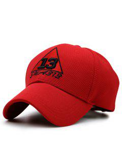 Trangle Numbers Embroidery Baseball Hat - Red