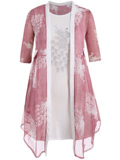 Bodycon Plus Size Dress With Peacock Kimono - Pink 3xl