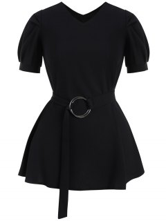 Puff Sleeve Plus Size Belted Dress - Black 3xl