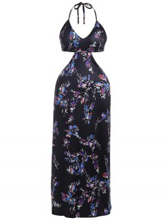 Halter Cut Out Plus Size Robe Maxi Rembourrée - Noir Xl