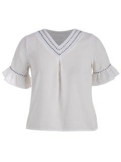 Plus Size Bell Ärmel Tunika Chiffon Bluse - Weiß 4xl