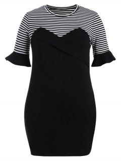 Plus Size Ruffles Striped Bodycon Dress - Black 3xl