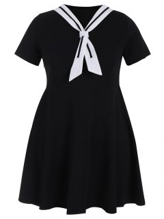 Plus Size Tied Skater Sailor Dress - Black 4xl