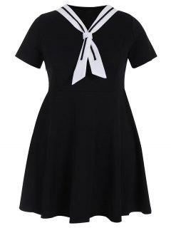Plus Size Tied Skater Sailor Dress - Black 5xl