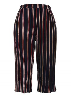 Plus Size Pleated Striped Capri Gaucho Pants - Stripe 4xl
