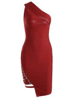 One Shoulder Criss Cross Bodycon Bandage Dress - Red L