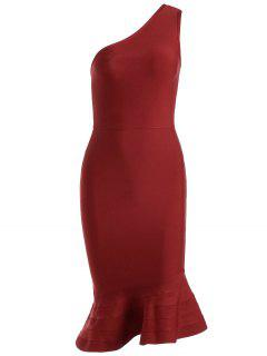 One Shoulder Plain Fitted Dress - Red S