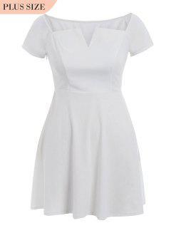 A Line Plus Size Off Shoulder Dress - White 3xl