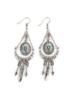 Faux Turquoise Arrow Feather Hook Earrings - Silver