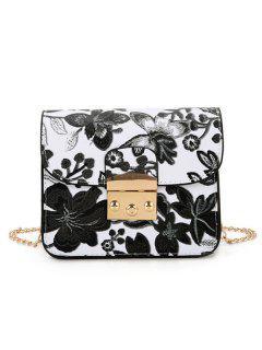 Floral Chain Mini Crossbody Bag - Black