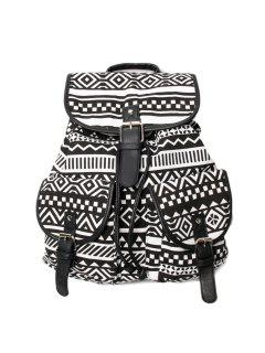 Buckles Ethnic Print Canvas Backpack - Black