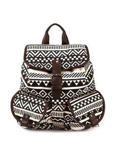 Buckles Ethnic Print Canvas Backpack - Coffee