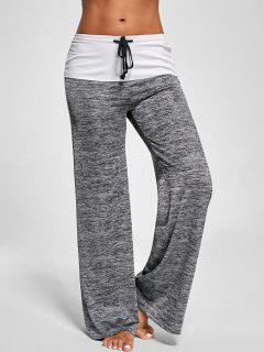 Foldover Heather Wide Leg Pants - Gray M