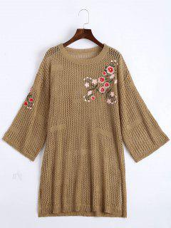 Sheer Floral Embroidered Sweater Dress - Khaki