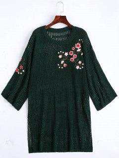 Sheer Floral Embroidered Sweater Dress - Blackish Green