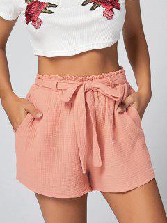 Pockets Belted Shorts - Orangepink M
