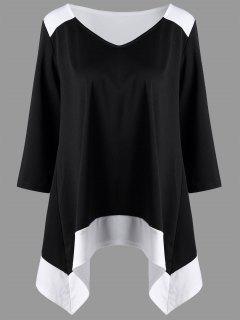 Plus Size Asymmetrical Two Tone Top - Black White 3xl
