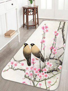 Bird Floral Print Skidproof Area Rug - W24 Inch * L71 Inch